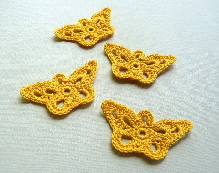 4 Crochet Butterfly Appliques -- Goldenrod Longwing - CaitlinSainio