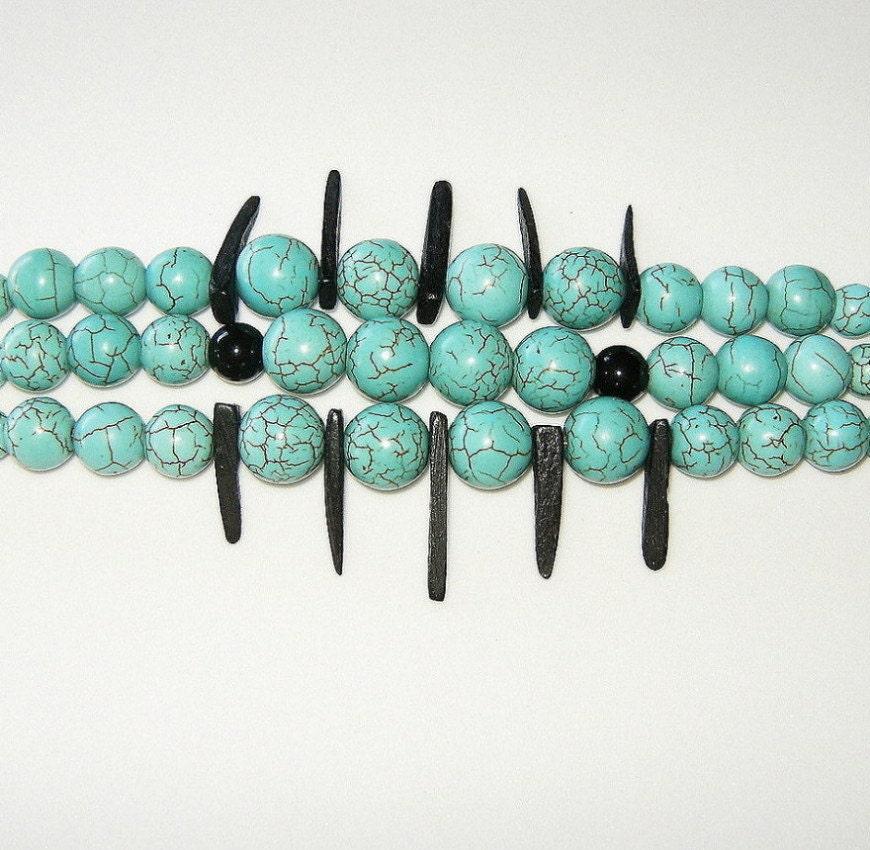 Genuine Turquoise Triple Strand Bracelet - BevmarDesigns