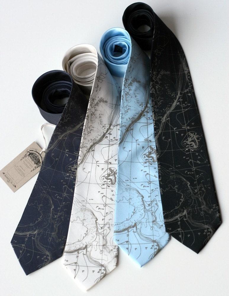 Topographical Error, seafloor contour map. Screenprinted SILK necktie.