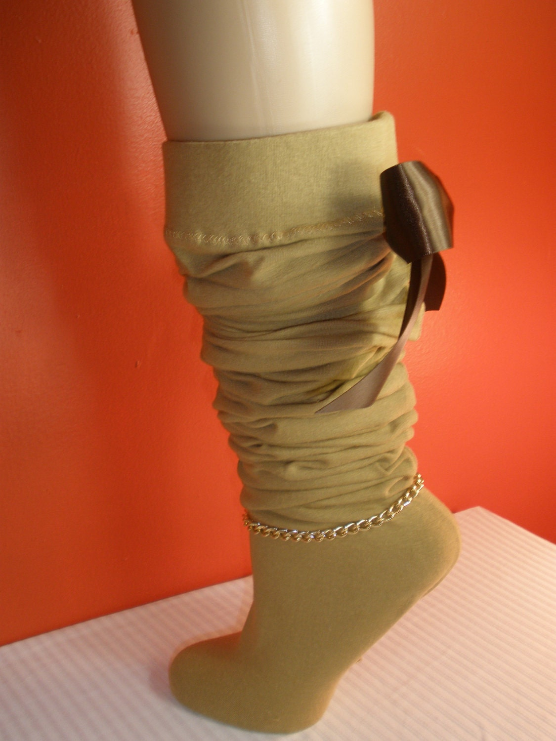 Gorgeous Lady Scrunchie Stocking Socks with Gold Attractive Anklet and Cute Removeable Bow on Back, Thigh High Stockings