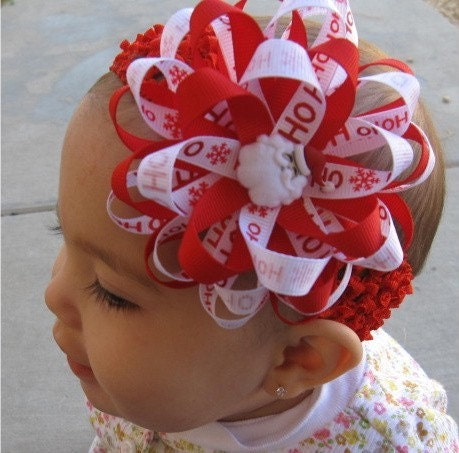 SPECIAL---FREE SHIPPING---Christmas Santa Hair Bow Headband