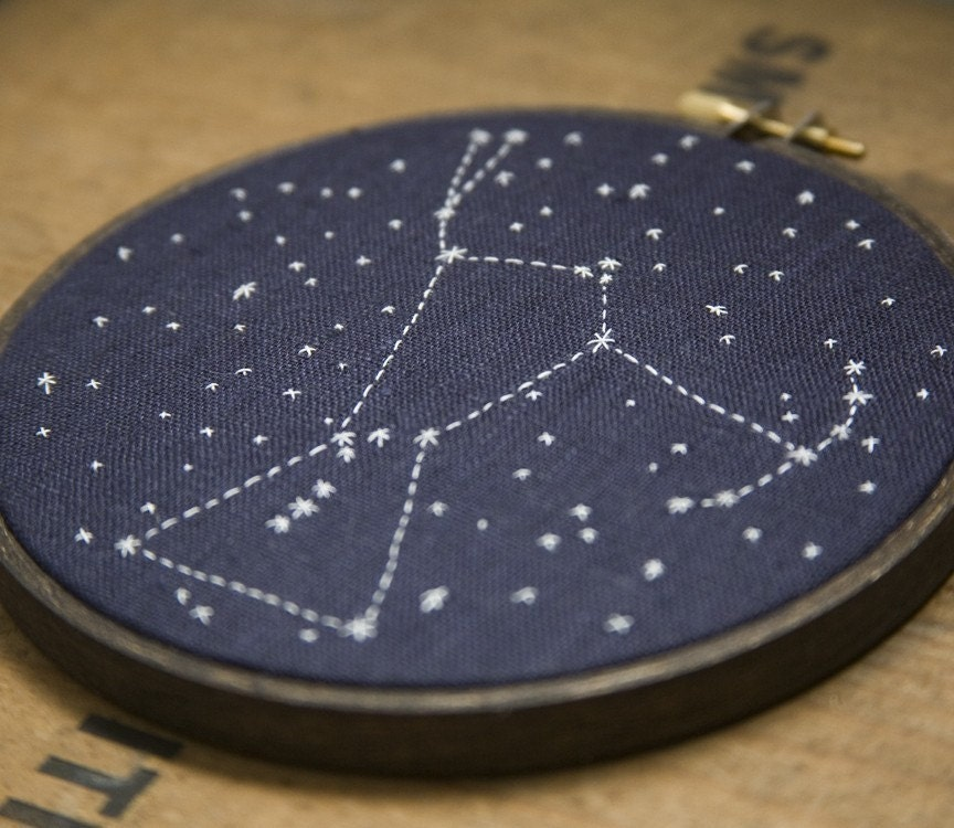 Orion, hand embroidered constellation
