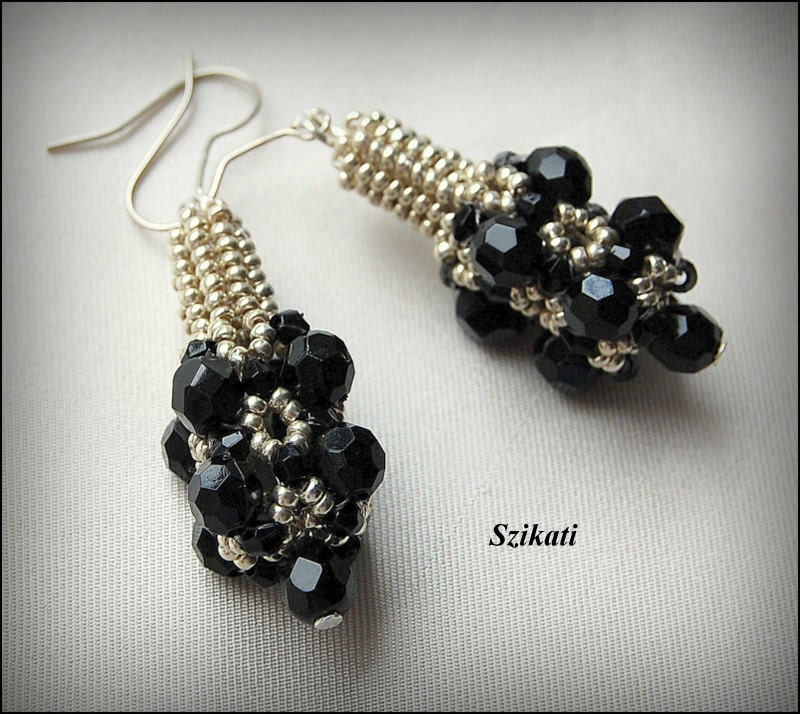 Beaded black silver earrings, elegant unique design, OOAK