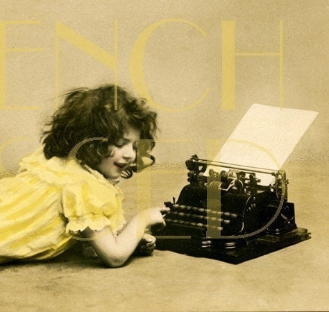 DIGITAL scan Victorian girl in yellow dress at TYPEWRITER Antique French postcard scan