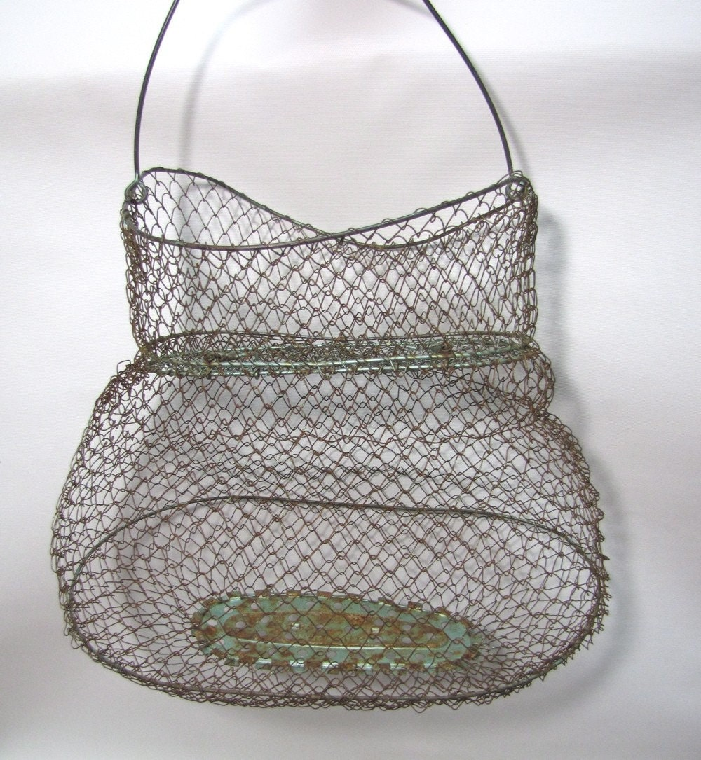 Vintage french wire fishing creel basket by for Fish wire basket
