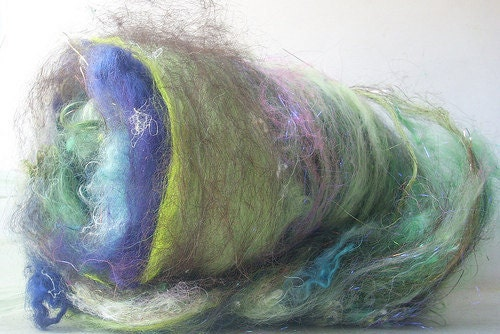 Hilltop Batty Babe Batt Hand Dyed Hand Washed Wool Spinning Felting Doll Hair Locks Art Batt