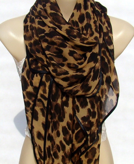 fashion classic brown leopard print scarf large size by xyuezw