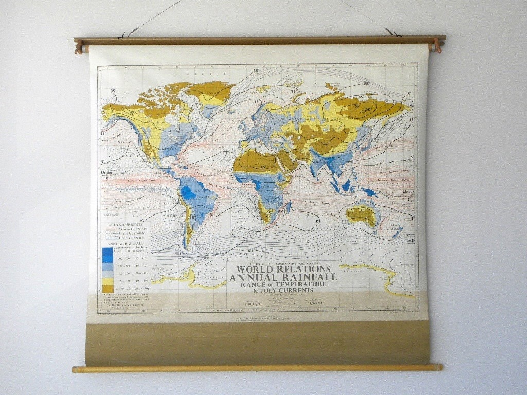 1967 World Climate, Rainfall Map, Vintage Philips / Denoyer Geppert Classroom Pull Down Map