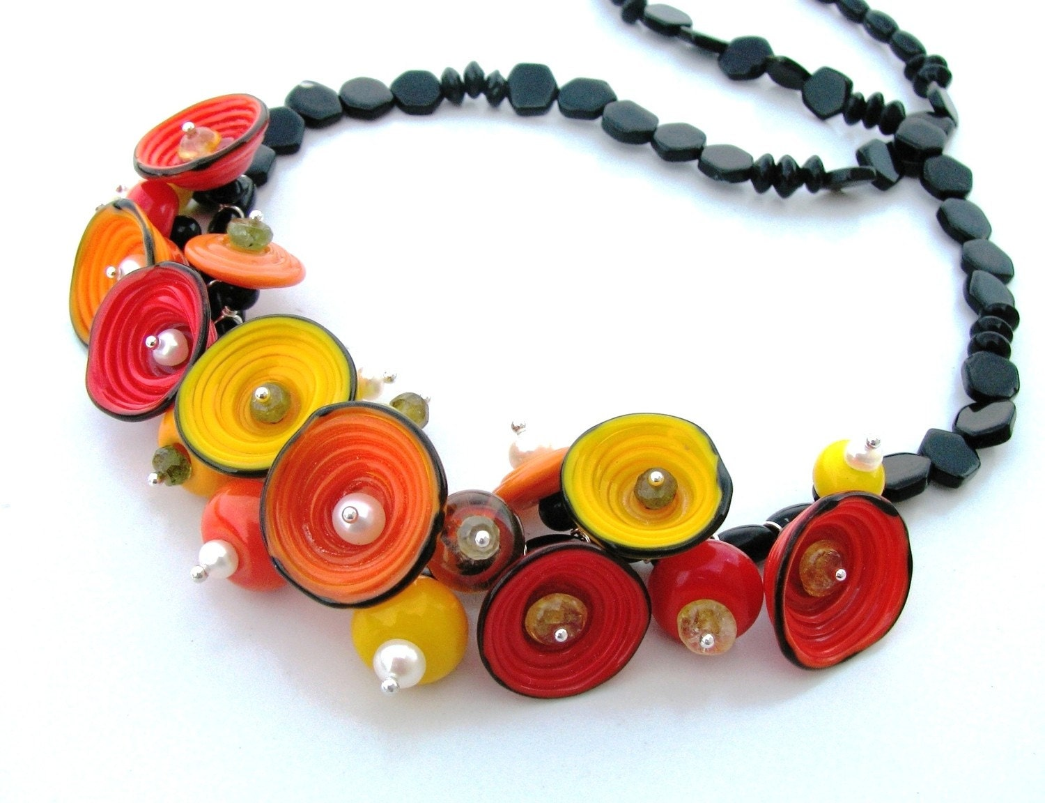 Artisan Lampwork, onyx, pearls and tiny gems Salsa Blooms necklace