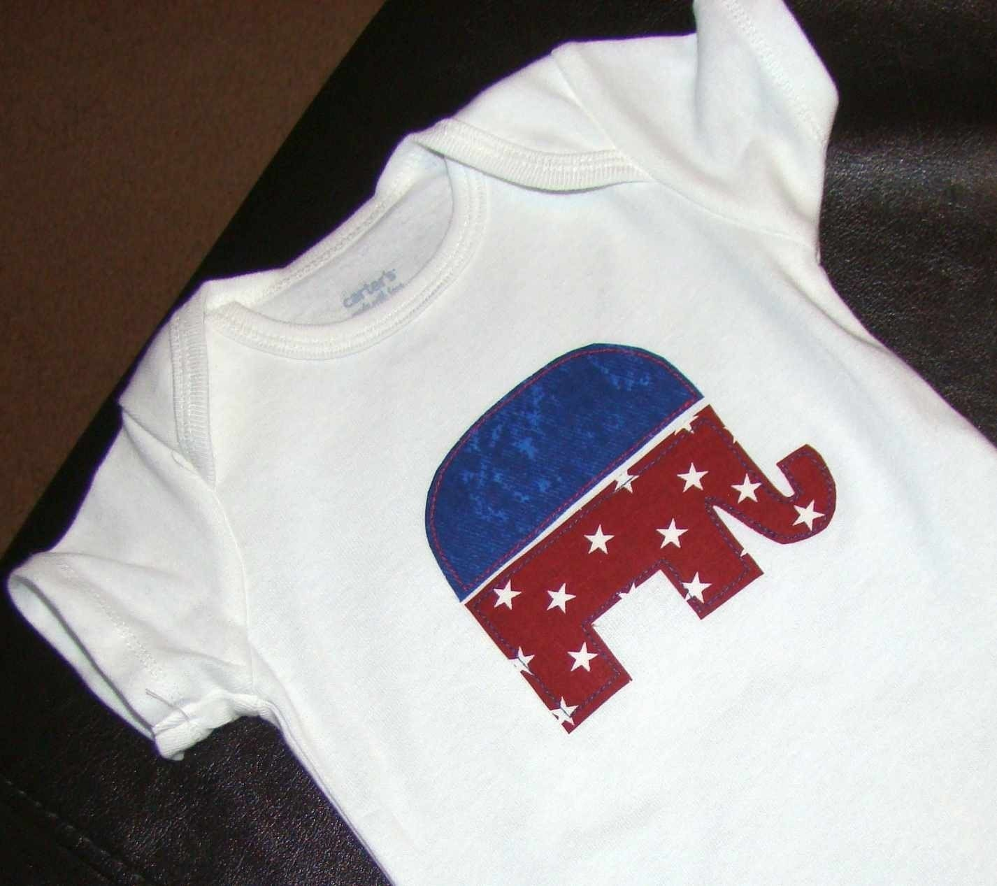 Red, White, and Blue Republican Elephant Onesie/Tee