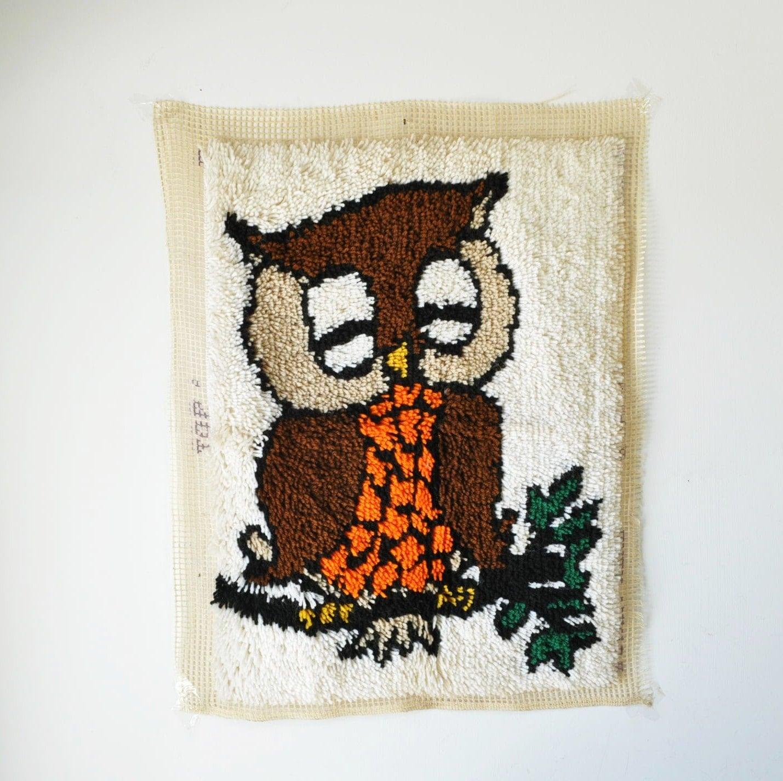 Vintage Latch Hook Owl Rug Wall Hanging By MyraMelinda On Etsy