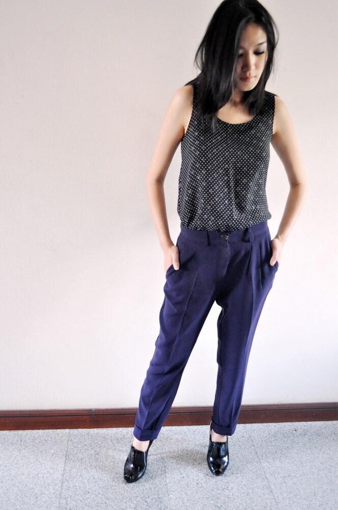 High Waist Trousers Dark Purple Pants Violet Bottom Etsy 8 M Rolled