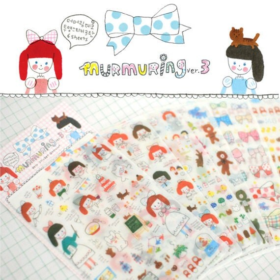 Cute Deco Sticker 6 sheets - murmuring3