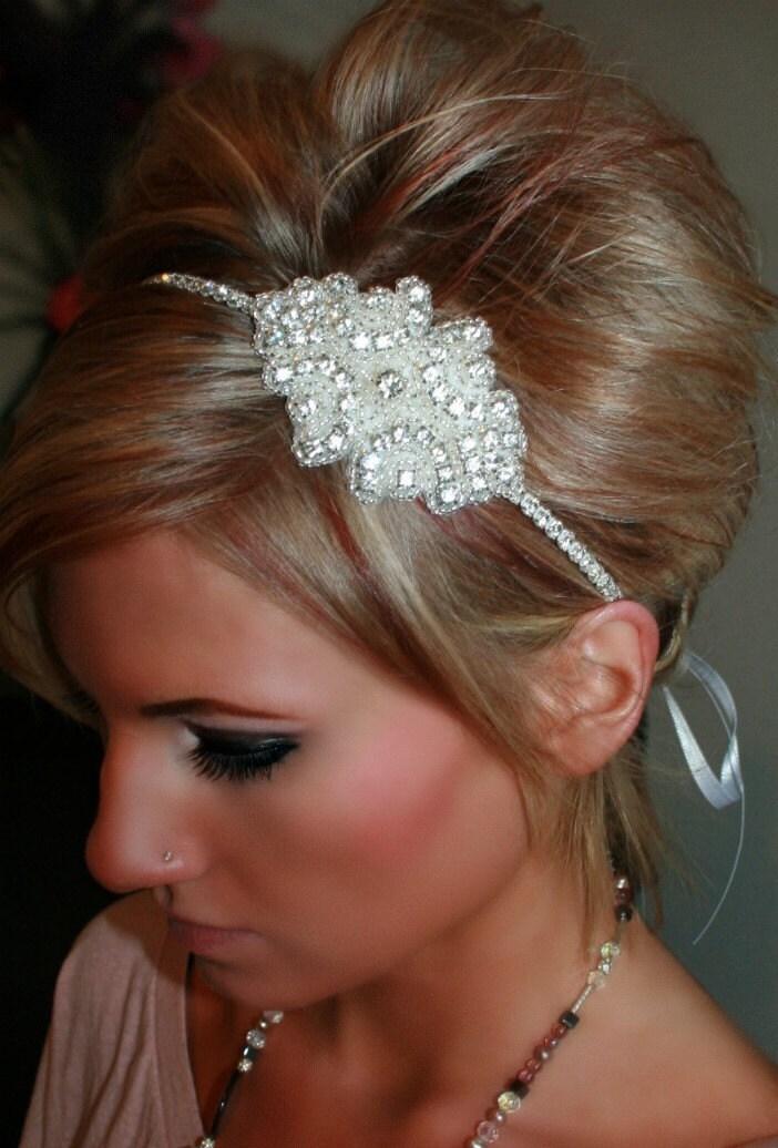 Wedding Hair With Rhinestone Headband : Cinderella rhinestone headband wedding by brasslotus