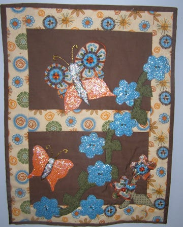 Sparkle Butterfly applique quilted wall hanging.