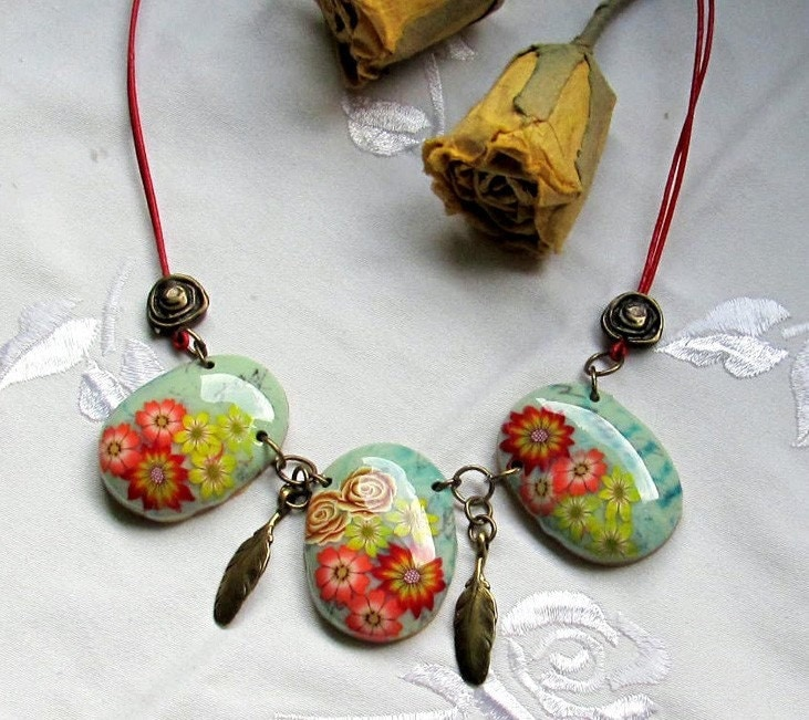Necklace - Three Big Oval Polymer clay Floral Beads, Red Leather Cord