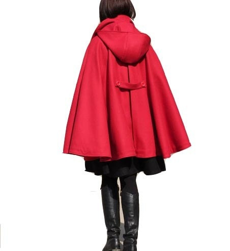 Hooded Red Wool Coat