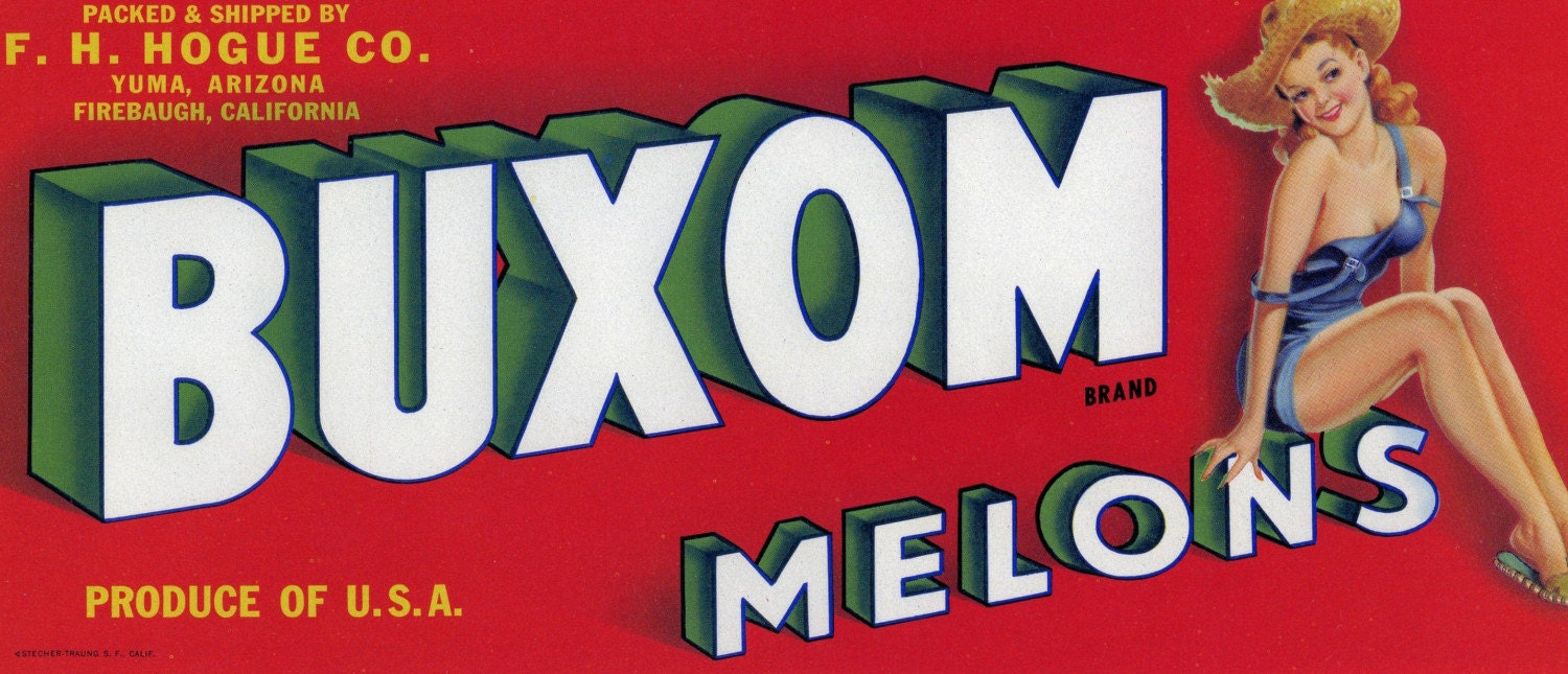 Buxom Melons Crate Label