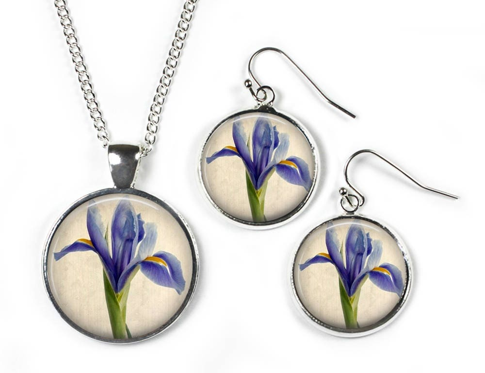 IRIS  Set Pendant Chain  Earrings  Glass Picture Jewellery  Silver Plated
