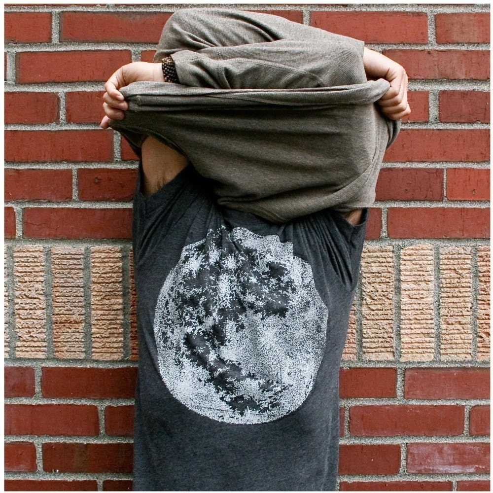 My Moon, My Man - men's medium - lunar print on heather black