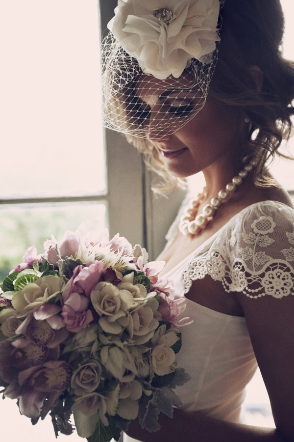 Bridal Headpiece - Birdcage Veil - Detachable Silk Flower - Made to Order - Best Seller