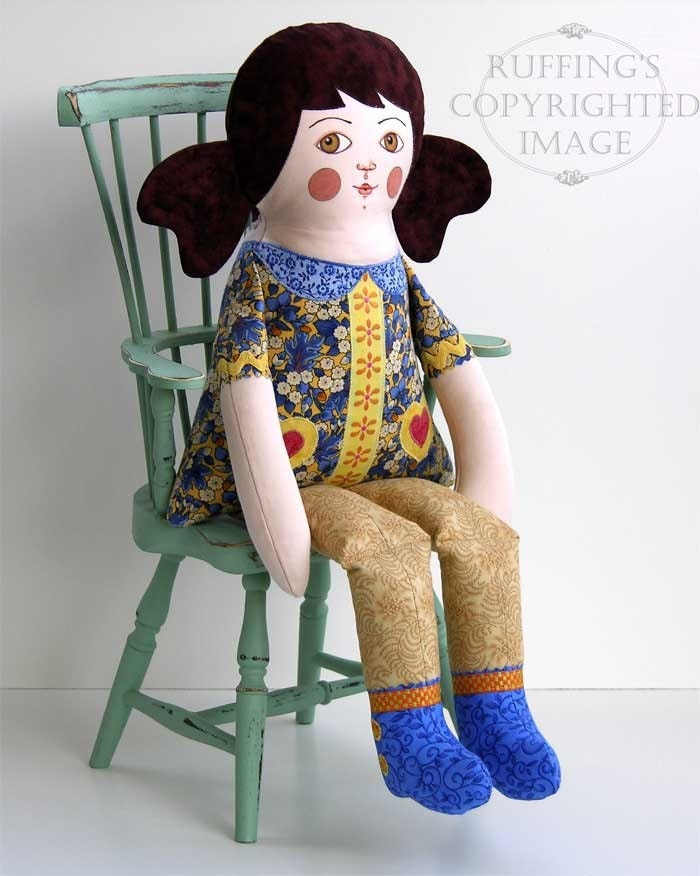 Name THIS Doll, Lovely Lucy Doll, One-of-a-kind Original Art Doll by Elizabeth Ruffing, 18.5 inch, Yellow and Blue, Ready-made