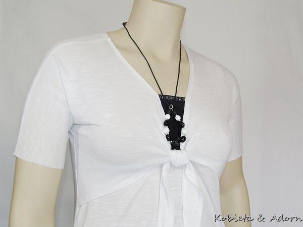 *Kobieta SALE* Nursing Top/Shirt~Kobieta Faux Tie in Black&White -Size 12/14/16
