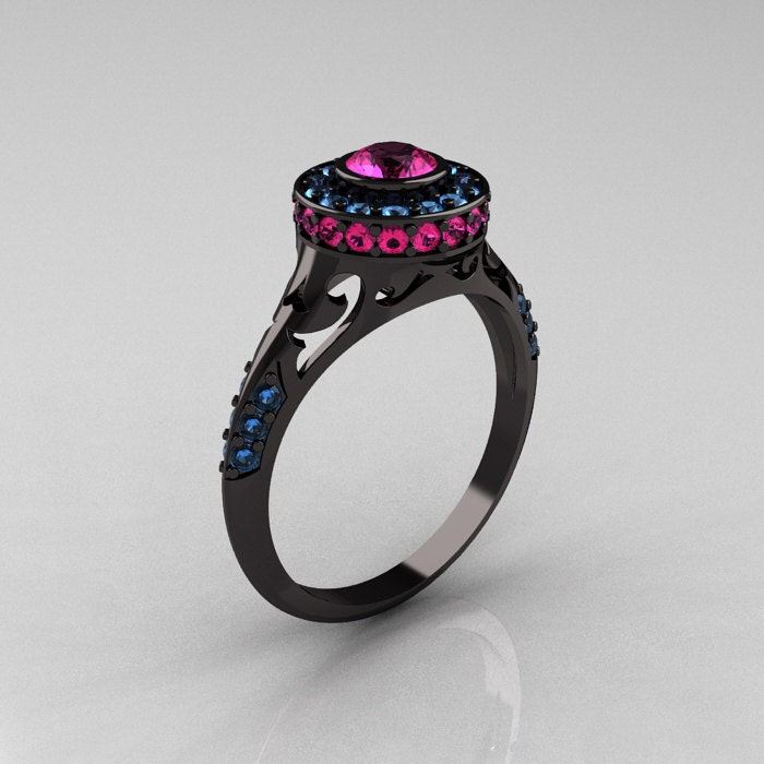 Modern Antique 14K Black Gold Pink Sapphire by artmasters on Etsy