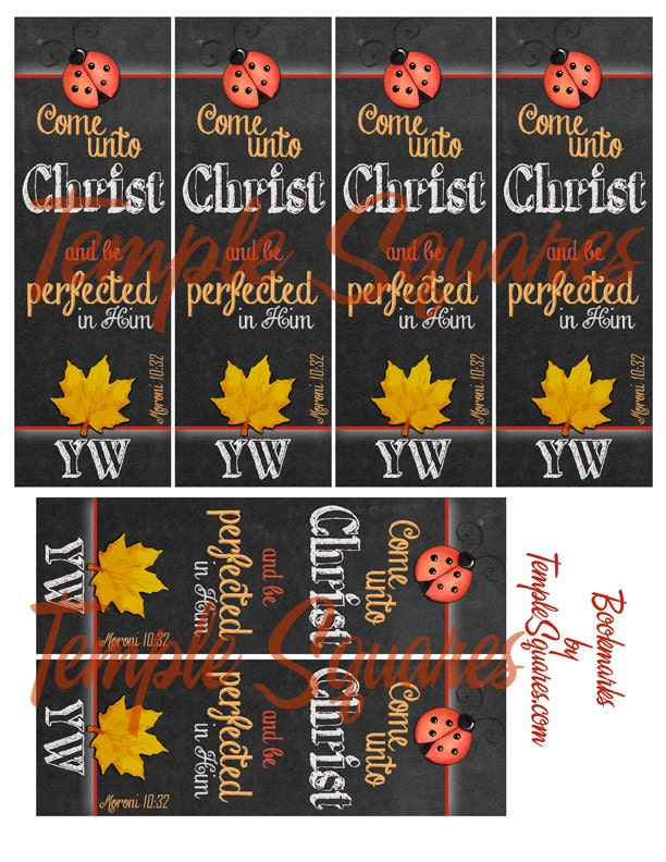 Printable Bookmarks LDS YW Young Women 2014 Theme Come Unto Christ Six ...