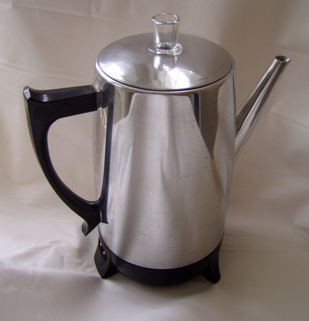 West Bend Coffee Maker Percolator : Vintage Aluminum 9 Cup WEST BEND PERCOLATOR by leatherExpressions
