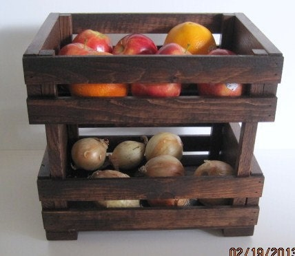 Wooden crate stackable fruit and vegie stand by for Wooden fruit crates