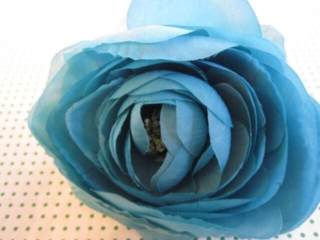 Ярко-розовый, бирюзовый и чай пятна - 3 нежные цветы Шелк - Дамских, Измененные Couture, волос Цветы