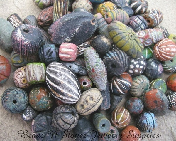 Handmade Clay Beads From India - Half Pound