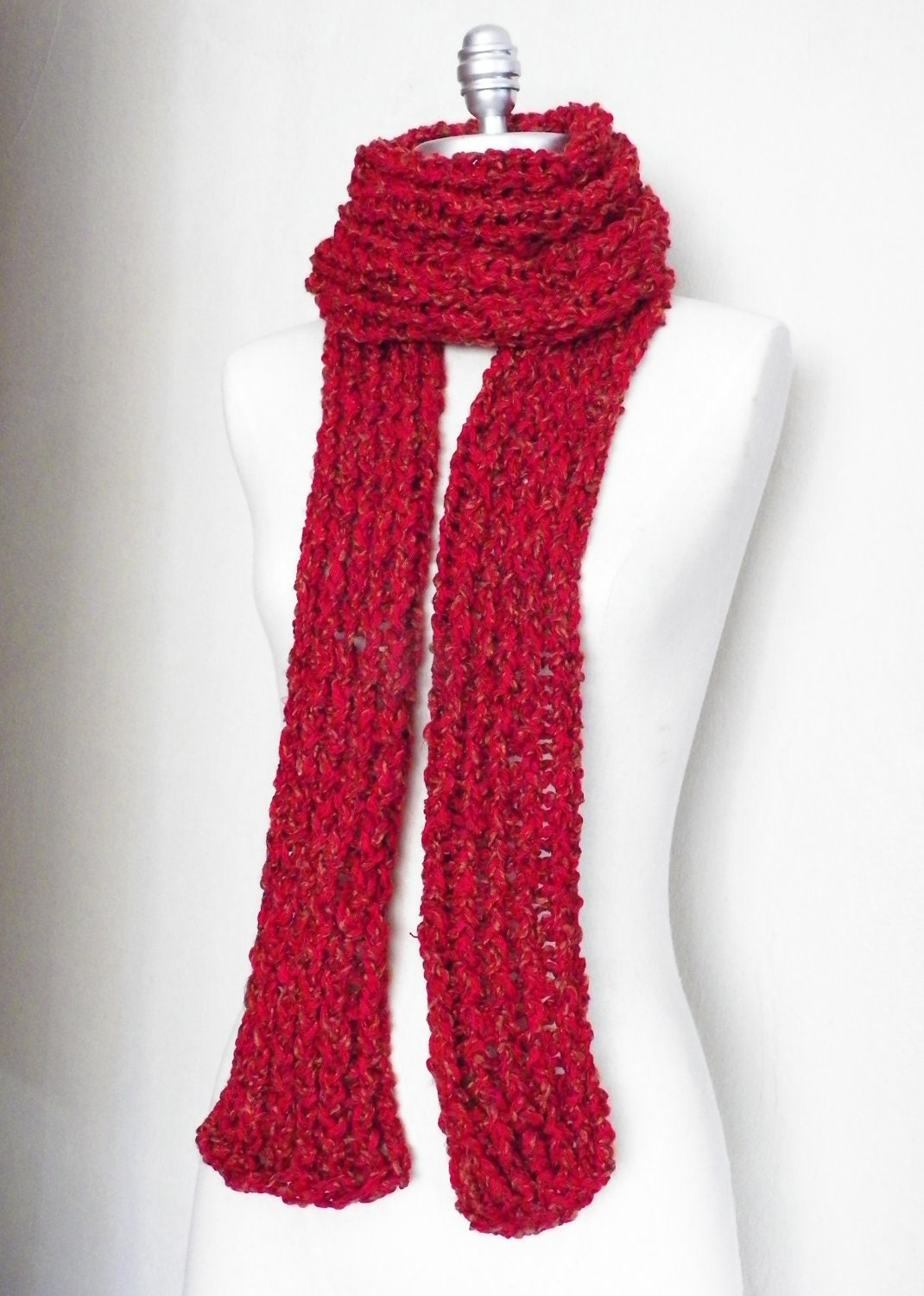 Big Red Scarf Knitwear Chunky Knit Extra Long By