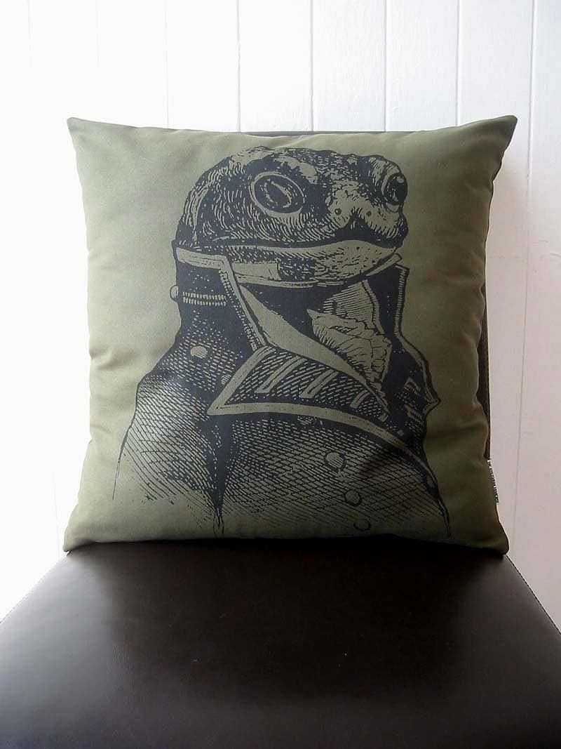General Toad silk screened cotton canvas throw pillow MOSS 18 x 18 inch