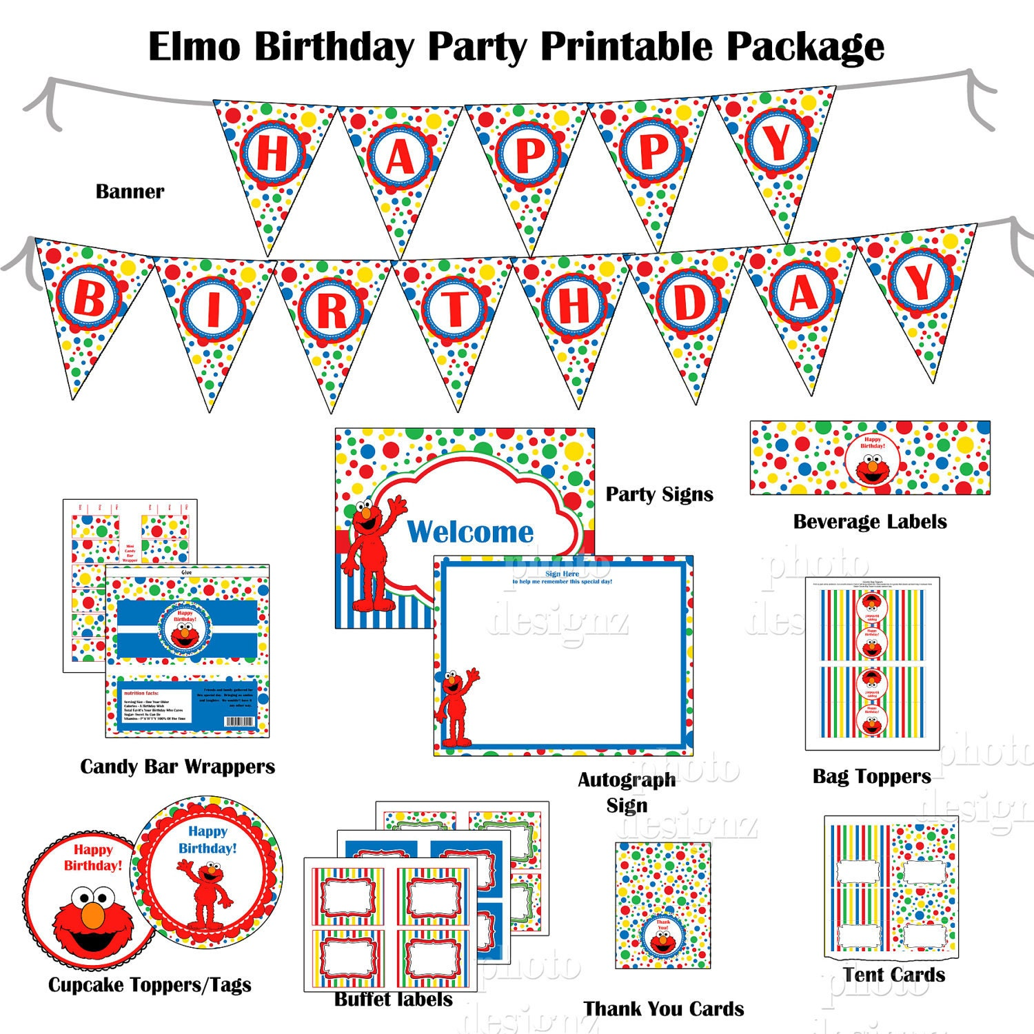 50% off - DIY Printable Elmo  Birthday Party Package