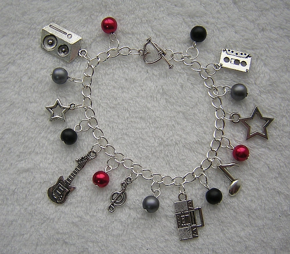 Rock N Roll Music Red, Black, Grey and Silver Charm Bracelet D225B-00012