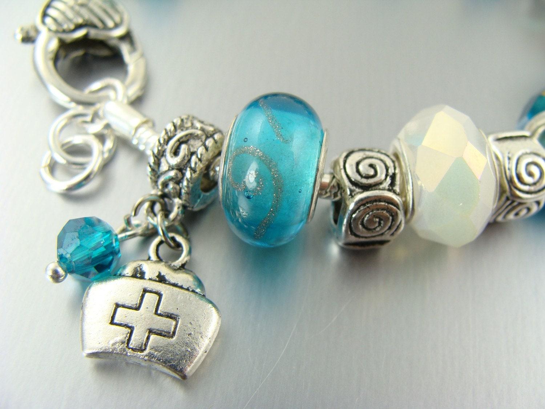 in blue pandora like charm bead bracelets by elorra123