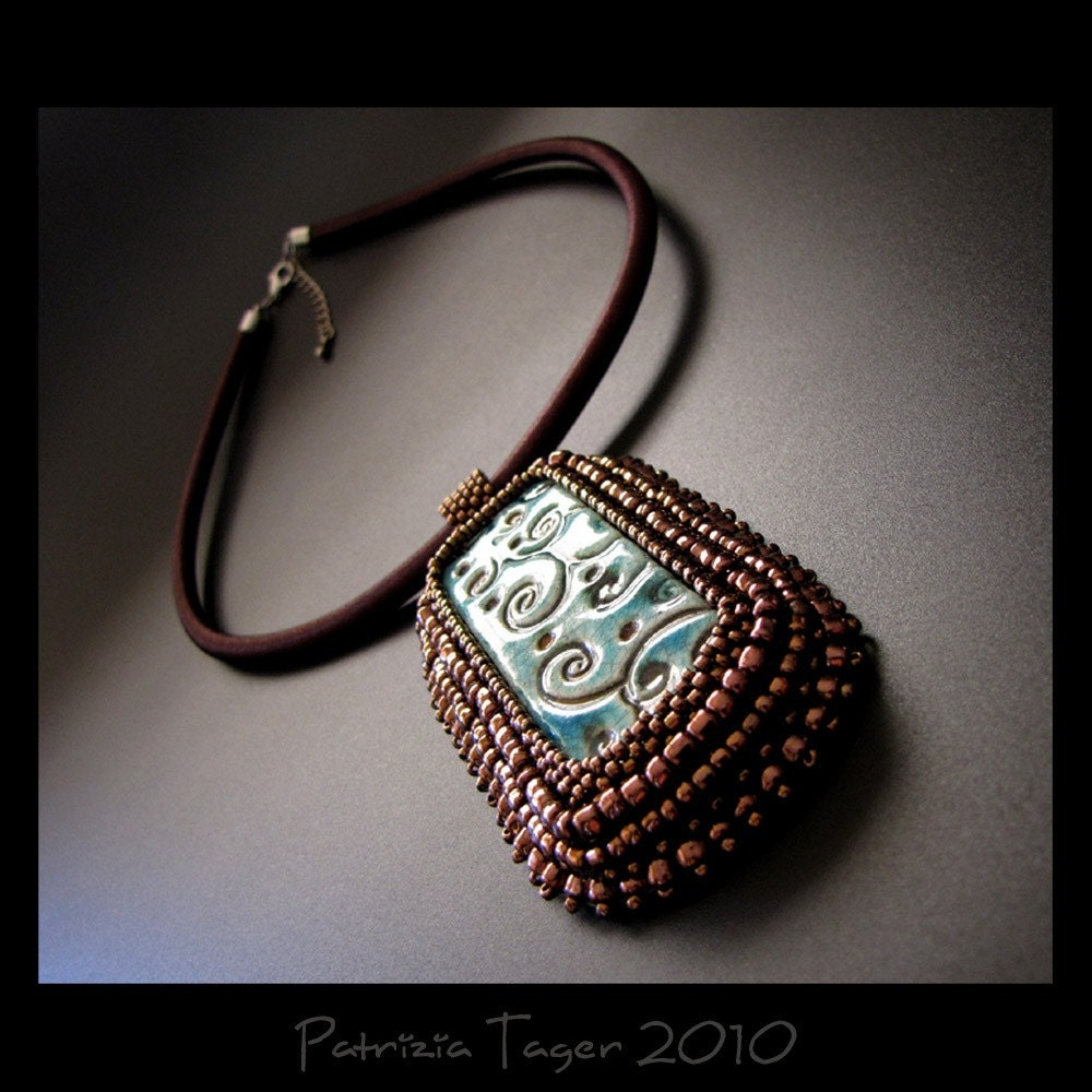 Bronze Vines  on Turquoise - OOAK Pendant