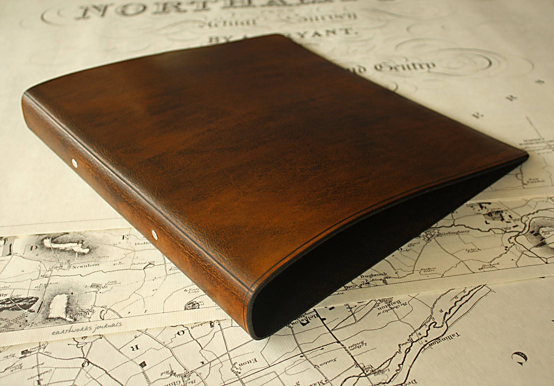 A4 Brown Leather 2 Ring Binder Presentation Folder Brown Leather Ringbinder Leather File Leather Stationery Free Personalisation.