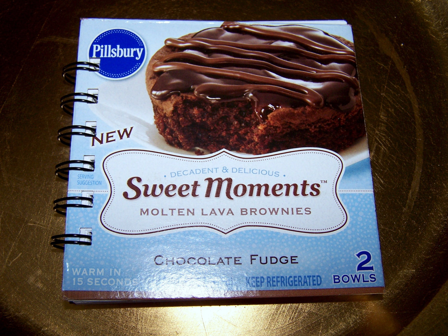 Upcycled Notebook Upcycled Notepad: PILLSBURY SWEET MOMENTS Molten Lava Brownies Recycled 50 Page Notebook-Spiral Bound
