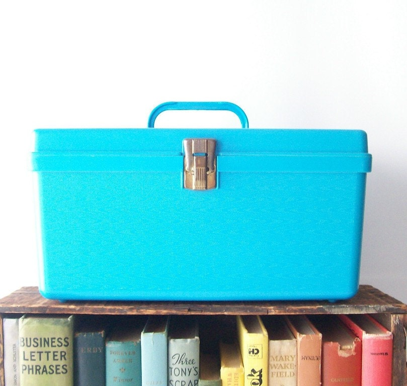vintage sewing supplies storage box bright aqua blue storage container