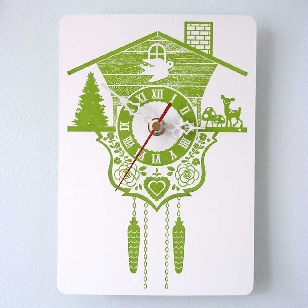 Wall hanging clock - Cuckoo Clock - Lime