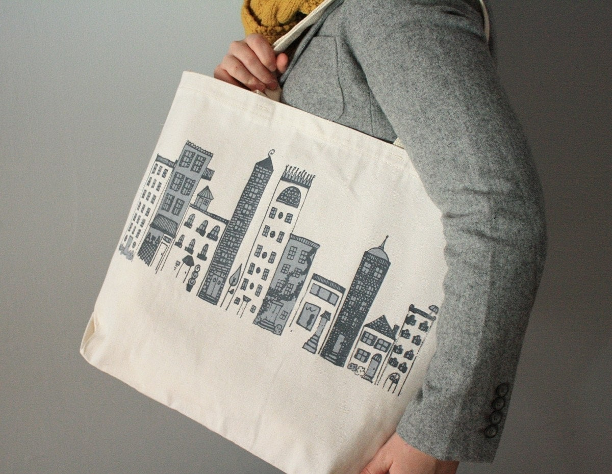 Welcome to City Town - Recycled Grocery / Shopping / Everyday Tote