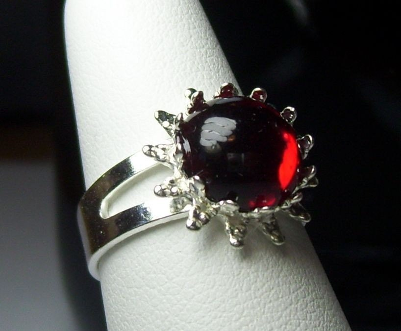 Vintage Swarovski Red Garnet Crystal Circa 1960's Austria Adjustable Steampunk NeoVictorian Ring
