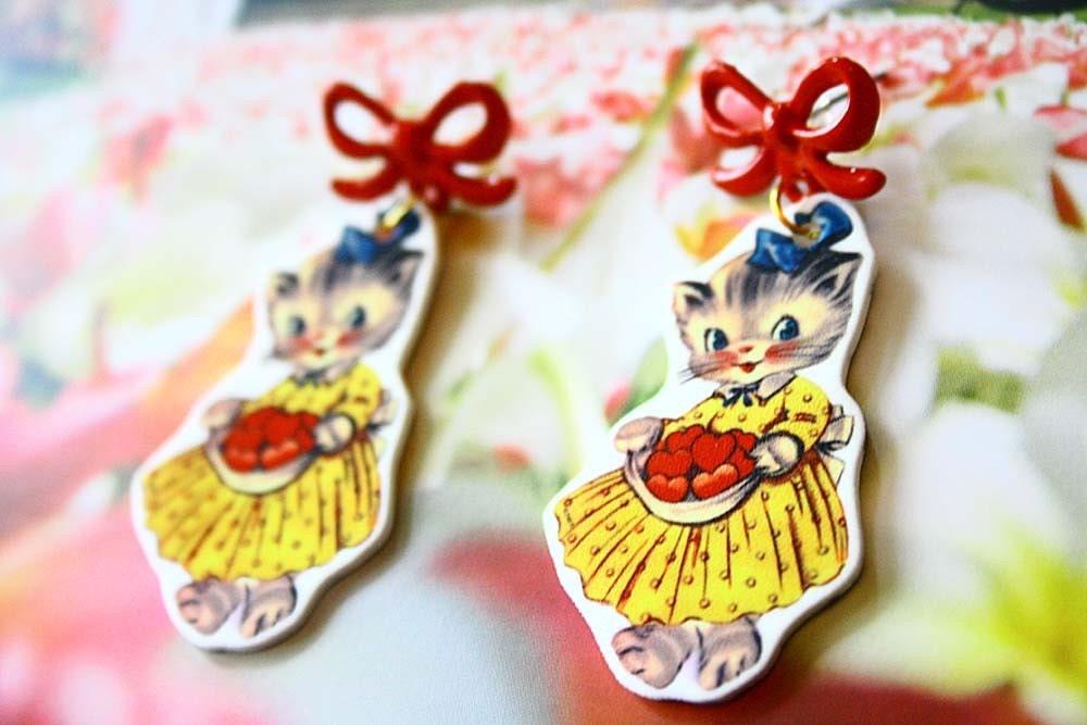 Ms. Kitty doll earrings