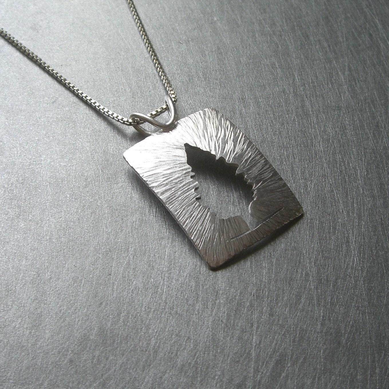 Reversible Radial Silver Cedar Tree Pendant by Silversmith Beth Millner