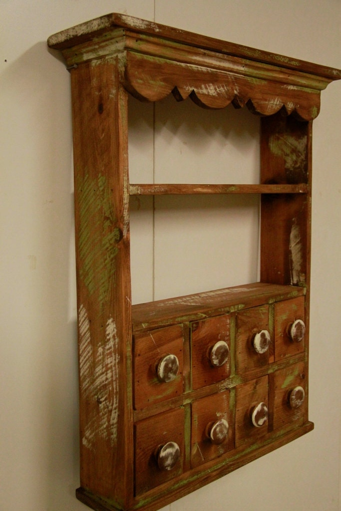 Kitchen Spice Rack Apothecary wall shelf by LynxCreekDesigns