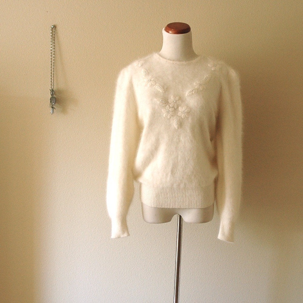 Vintage Cream Angora Sweater