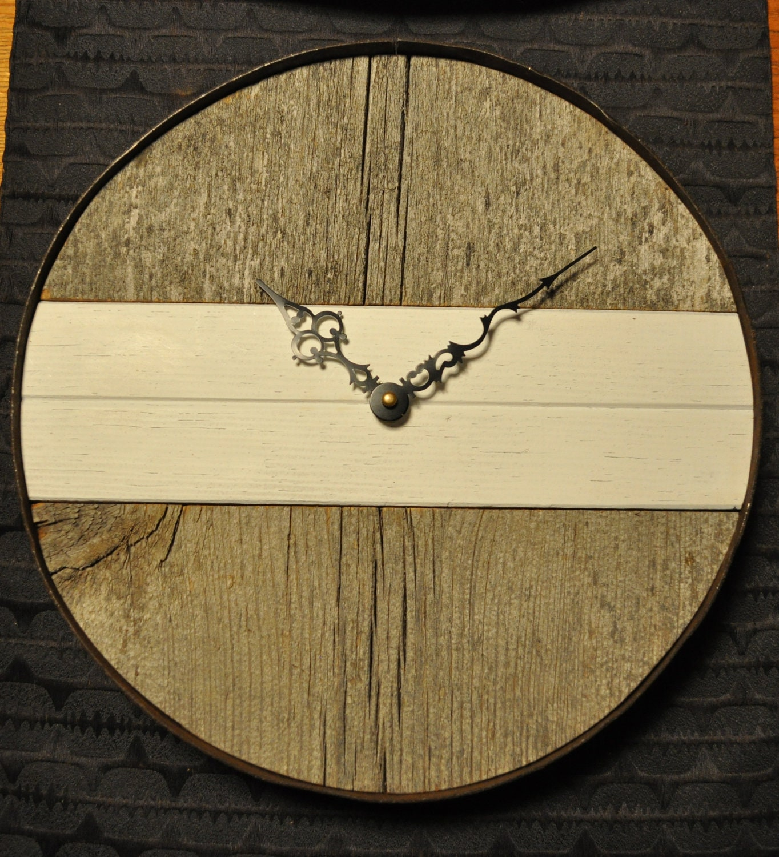 Reclaimed barn wood rustic modern wall clock by sitzj on Etsy